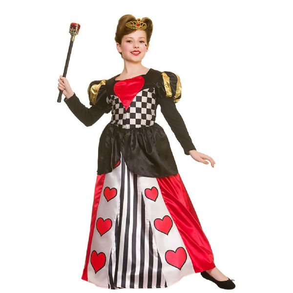 Girls Deluxe Queen of Hearts Costume for Royal Regal Ruler Leader Fancy Dress
